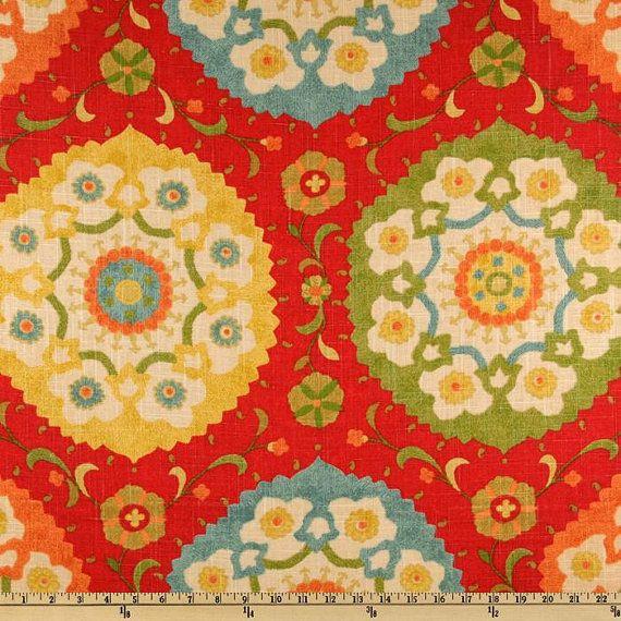 Tissu D'Ameublement À La Verge Waverly Tissu / Ressort Rouge