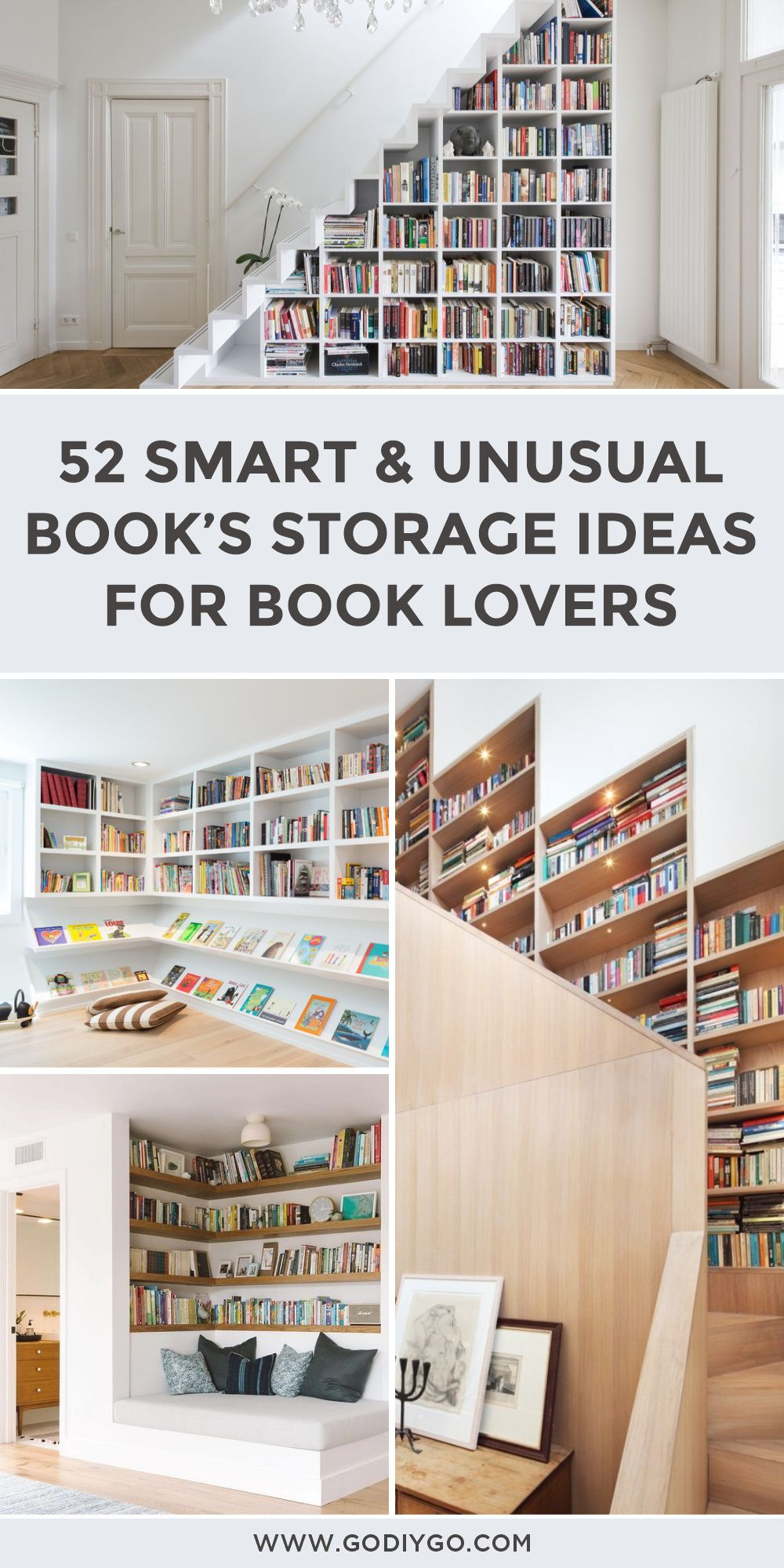 52 Smart And Unusual Book S Storage Ideas For Book Lovers Godiygo Com In 2020 Book Storage Storage Space Dividers