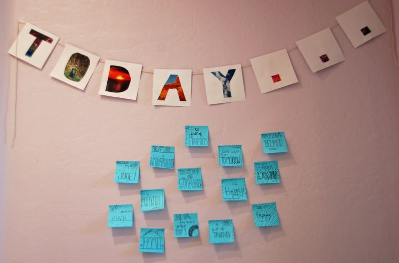 Add a sticky note with a word (or a few) for each day with the date to spruce up a dull wall.