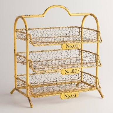 Amazon.com: Yellow Austin 3 Tier Wire Tray   World Market: Office