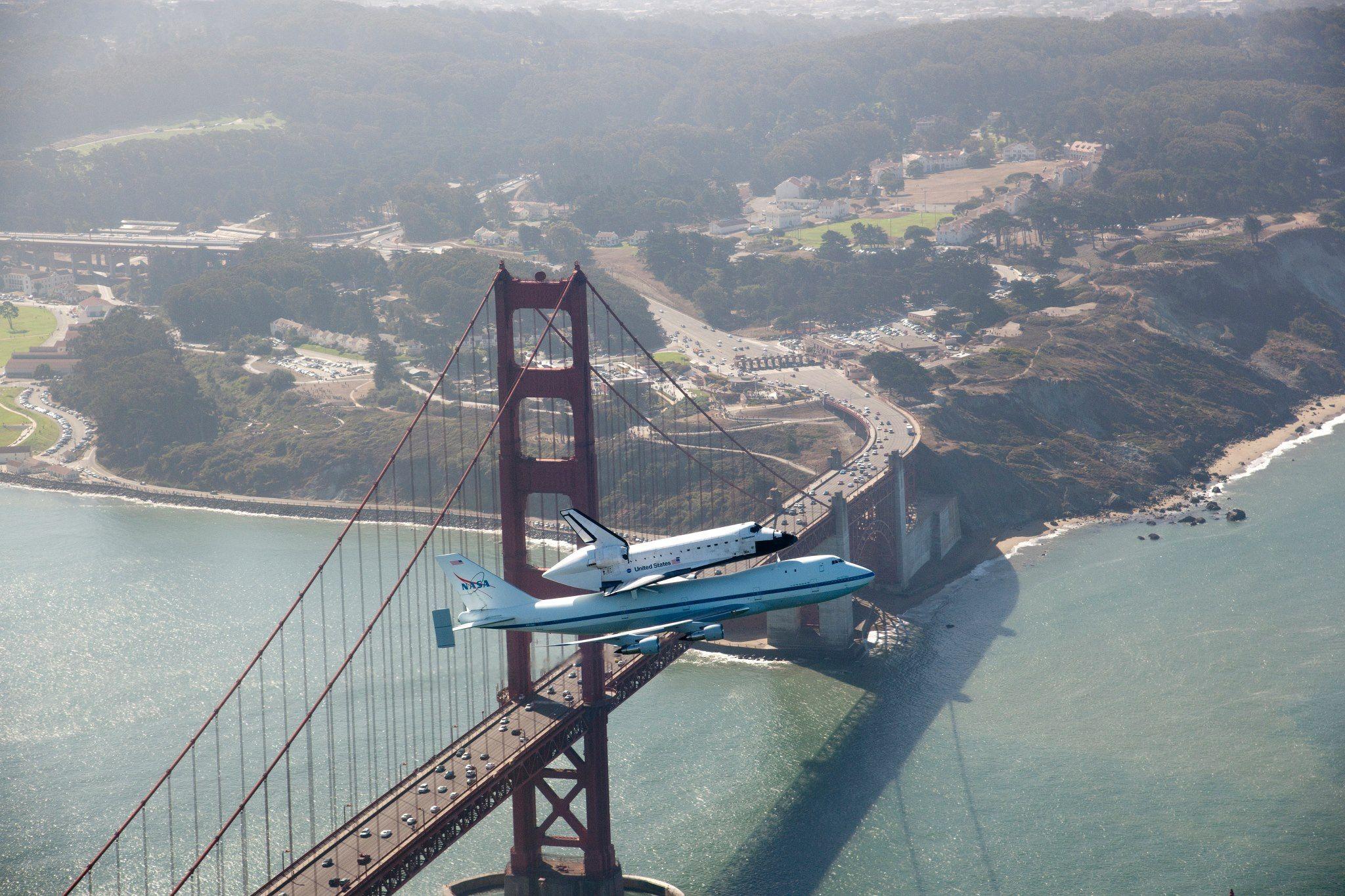 Endeavour over Golden Gate bridge  SEPT. 2012