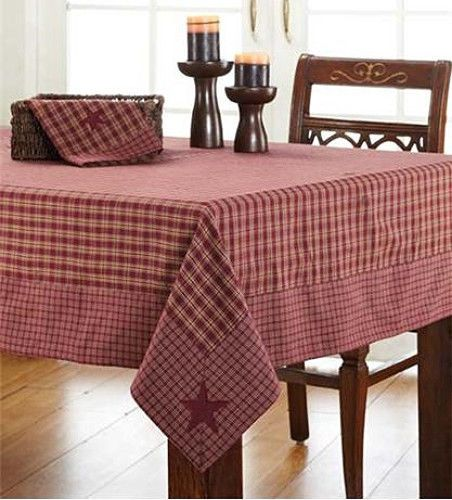 Awesome New Country Red BURGUNDY U0026 TAN CHECK STAR TABLECLOTH Applique Table Cloth  ...