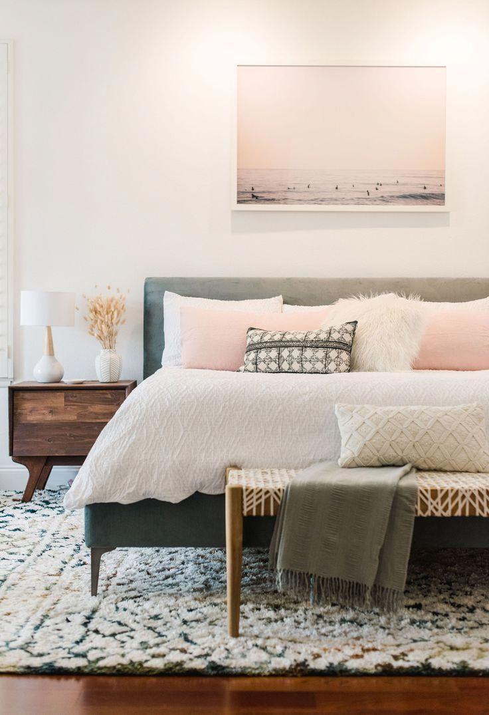 Photo of Modern boho bedroom design. Crinkle Duvet Cover. Bed Bath and Beyond Registry. #…
