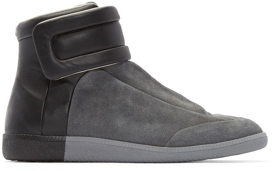 28f82119d04 Maison Margiela - Grey & Black Suede Future High-Top Sneakers | New ...