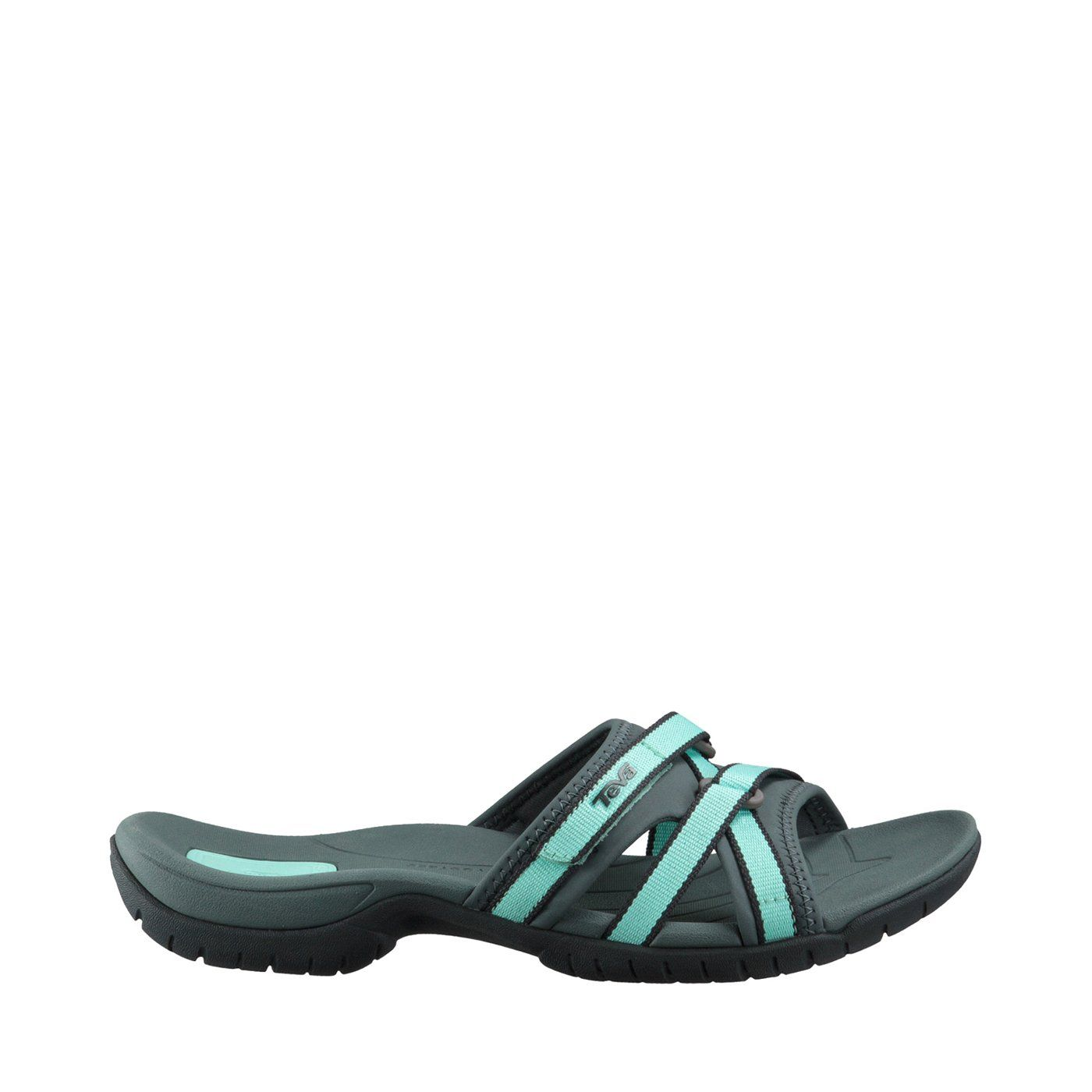 Sporty sandal featuring hook-and-loop webbing straps with stretchy slide strap underlay