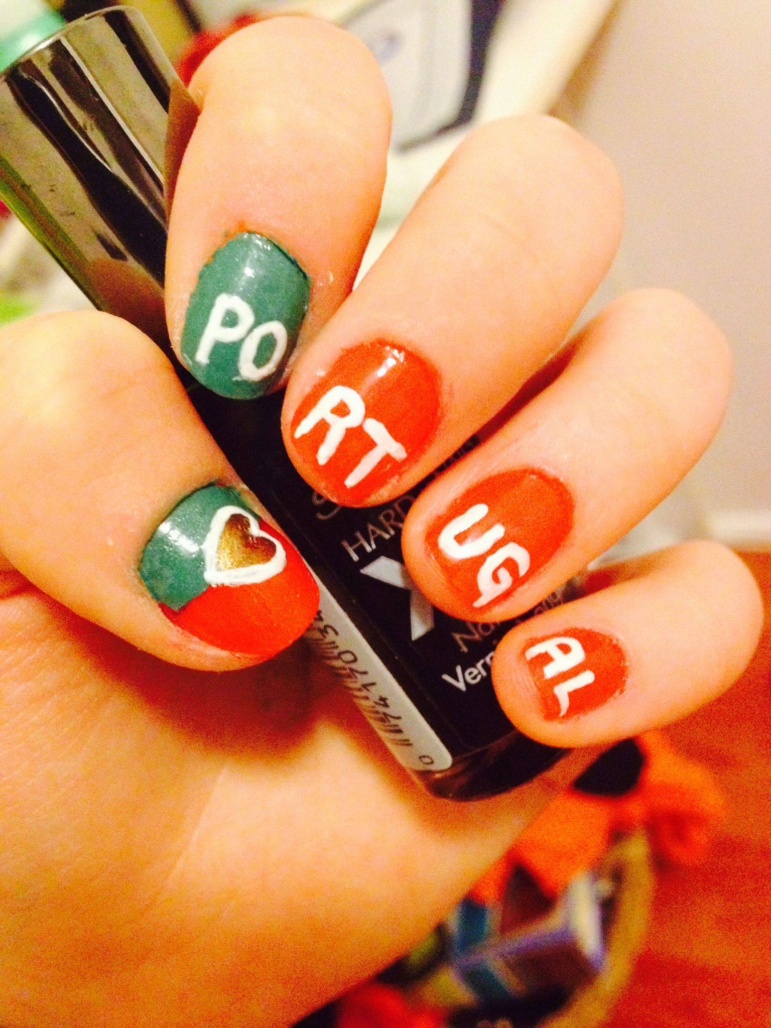 My Version Of The Soccer Themed Portugal Nails Nails How To Do Nails Nail Polish