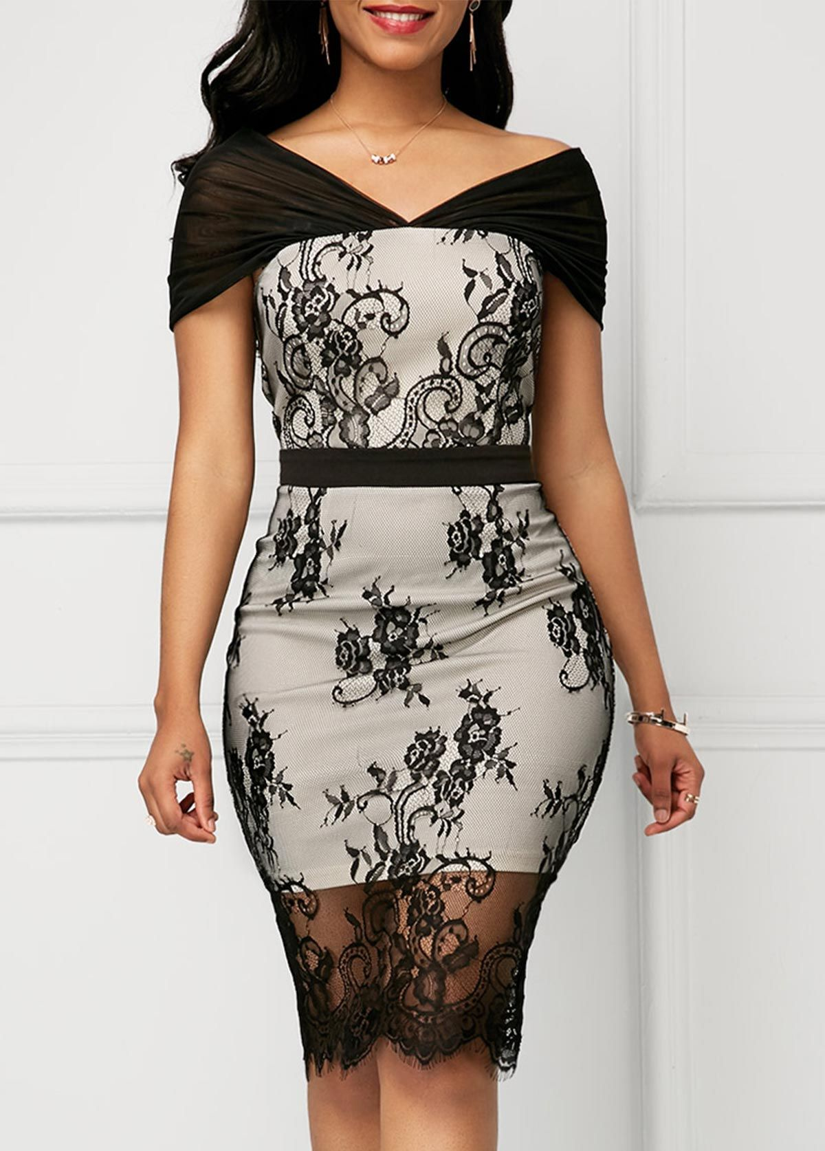Lace Panel Short Sleeve V Neck Sheath Dress  114b095a1