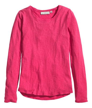 Cerise Long sleeve T with Navy Elbow Patches   H&M US