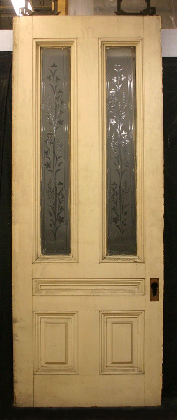 75x96 Pair Antique Victorian Cherry Pocket Doors Etched Glass Lite