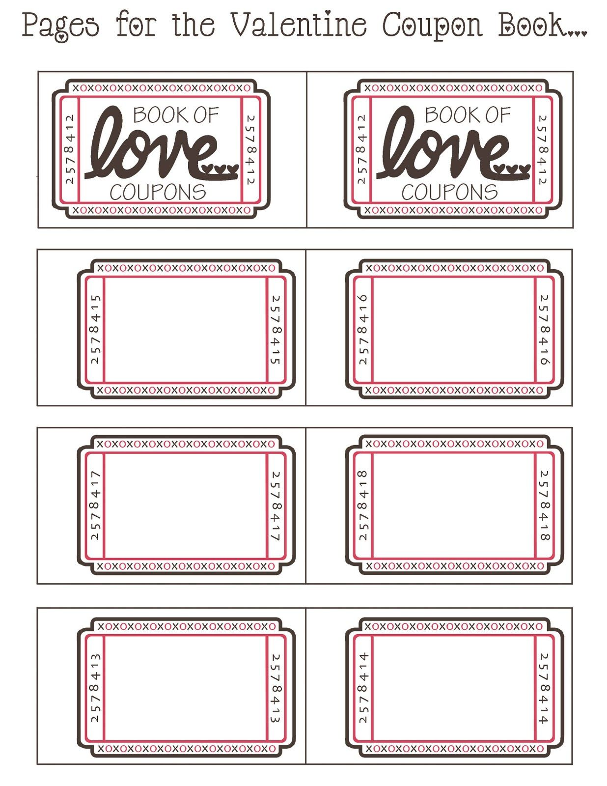 Boyfriend Pinterest Valentines Craft Ideas Free Printable – Payment Coupon Book Template