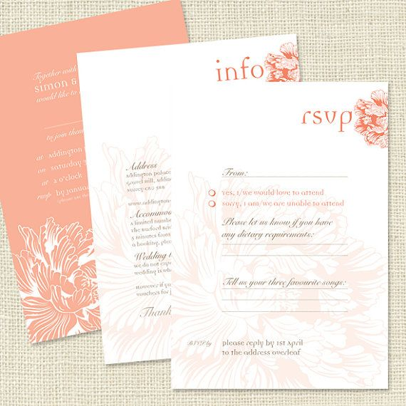 VIntage Peony Design wedding invitation by TigerlilyWedding, £0.75