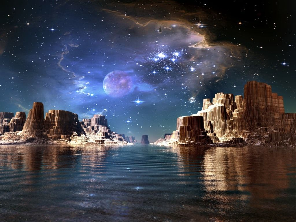 Space planets and stars star fire 3d abstract digiart for Space landscape