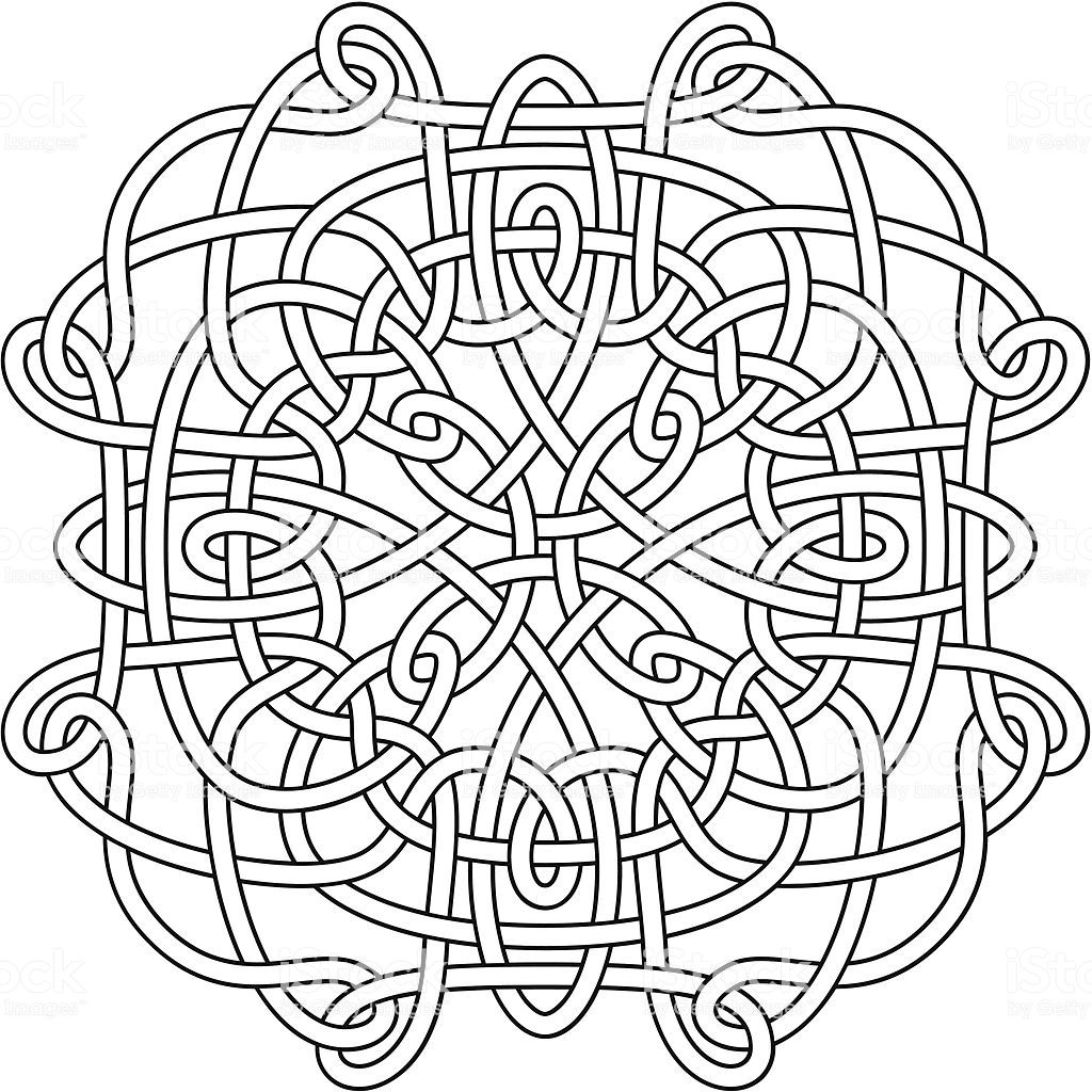 Complex Celtic Knot As A Clean Black Outline Ready For You To