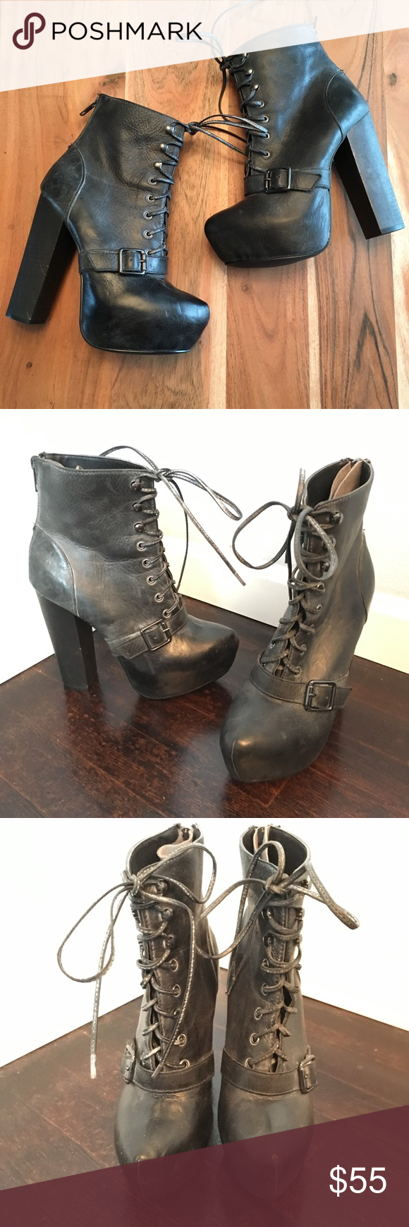f4ee39358d9 Steve Madden Carnaby platform ankle boots Black leather with wood ...