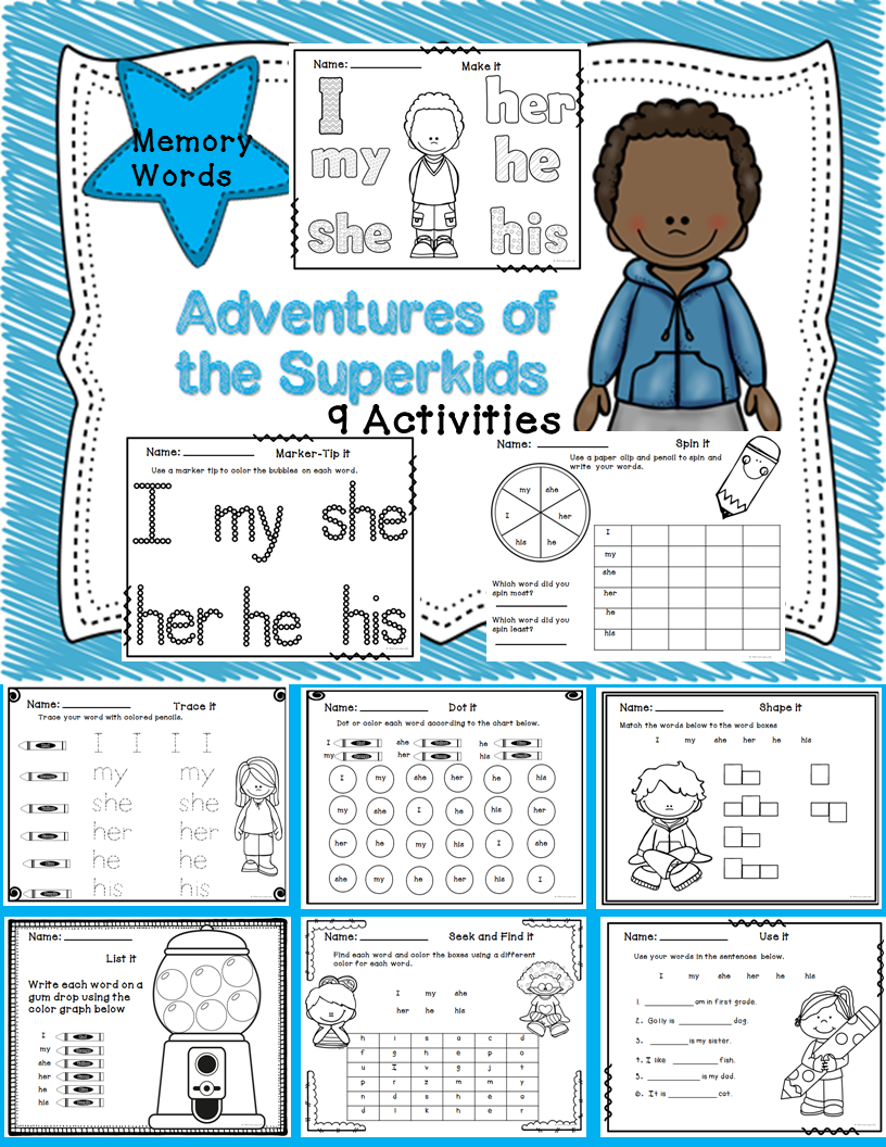 Worksheets Superkids Reading Worksheets memory word worksheets study and programming adventures of the superkids freebie included this packet was created to provide