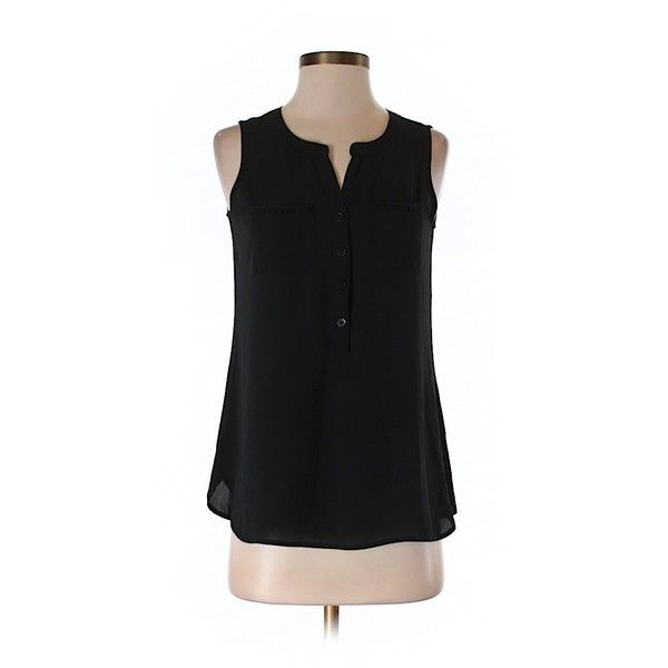 Pre-owned Ann Taylor LOFT Sleeveless Blouse ($15) ❤ liked on Polyvore featuring tops, blouses, black, sleeveless tops, sleeveless blouse, loft blouse and loft tops