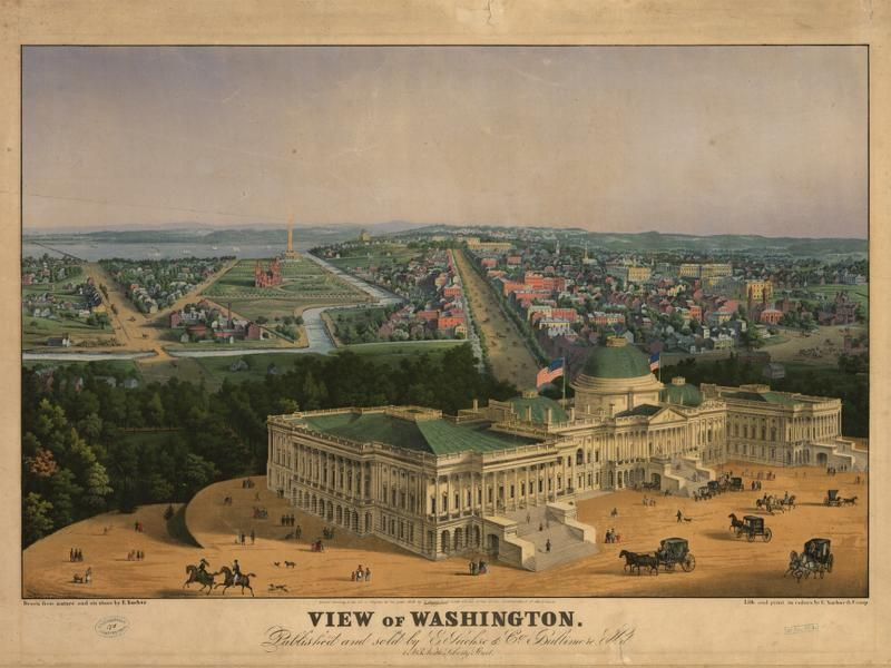 Historic Map of Washington DC 1852