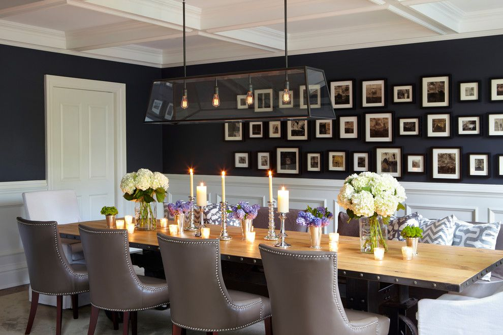 The Walls Of This Formal Dining Room Have All Been Paneled And Painted A Crisp White To Set Off The Dining Room Wall Decor Big Dining Table Dining Room Design