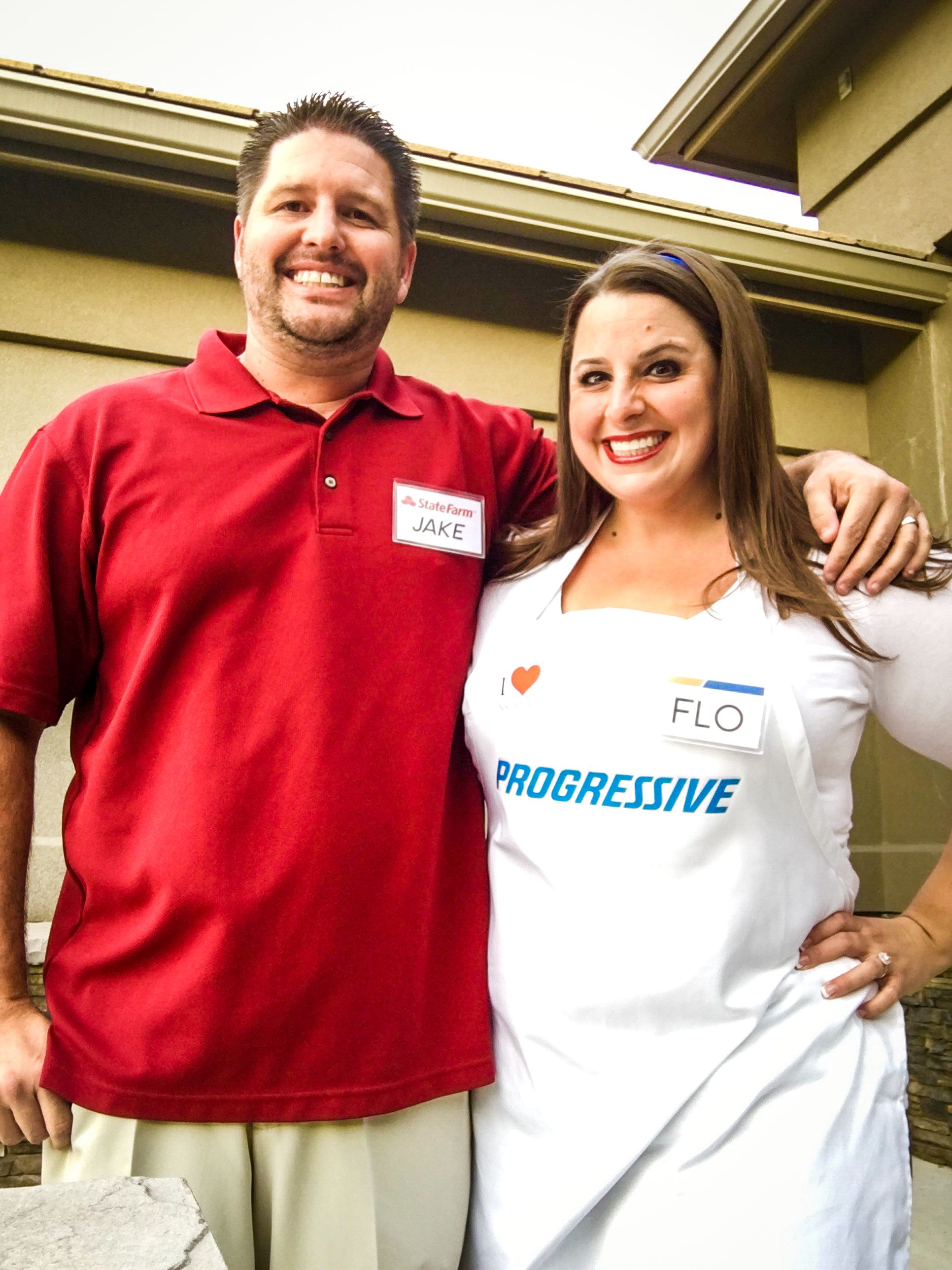 Easy and Quick Adult Couples Halloween Costumes - Jake (from Statefarm) and Flo (  sc 1 st  Pinterest & Jake and Flo Couples Halloween Costume | Couple halloween Halloween ...
