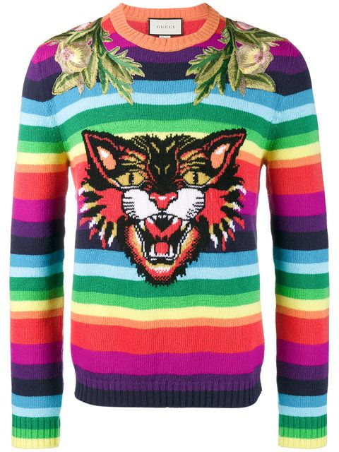 30c8a3fe420 Shop Gucci Angry Cat rainbow sweater.