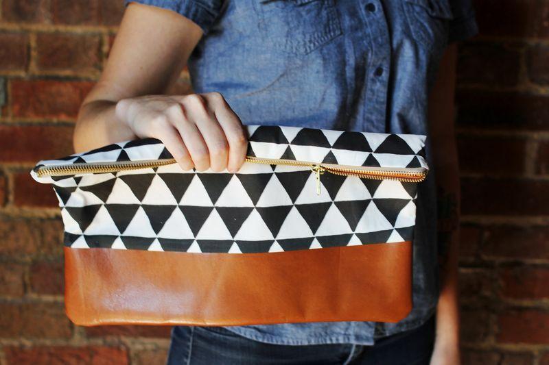DIY: cotton + leather clutch purse
