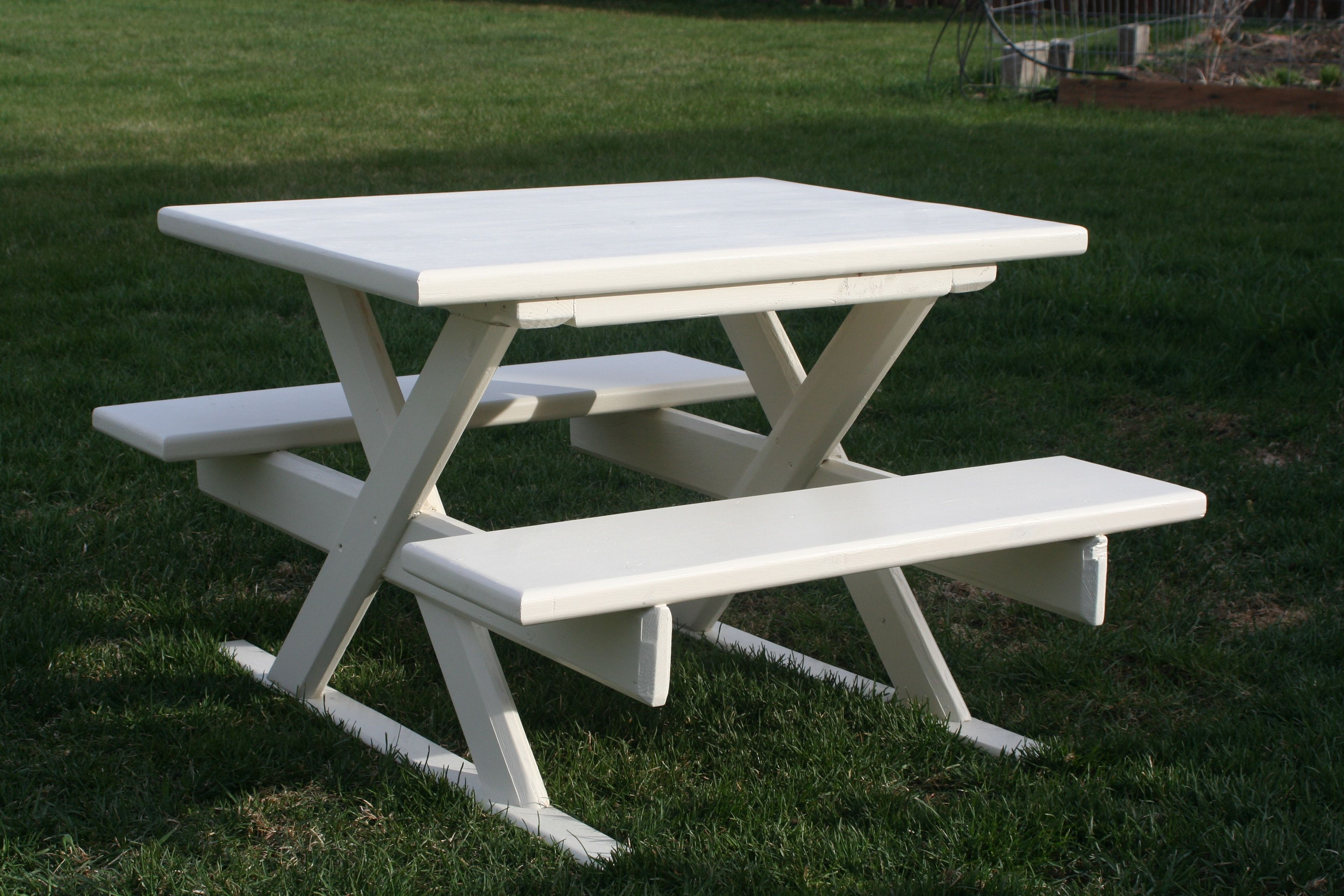 Kid-sized picnic table.