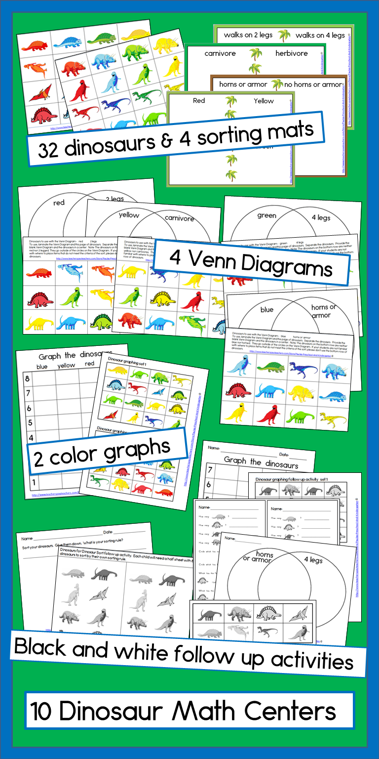 10 dinosaur math centers with b\u0026w printable activities to follow up!  Activities include sorting mats [ 1536 x 768 Pixel ]