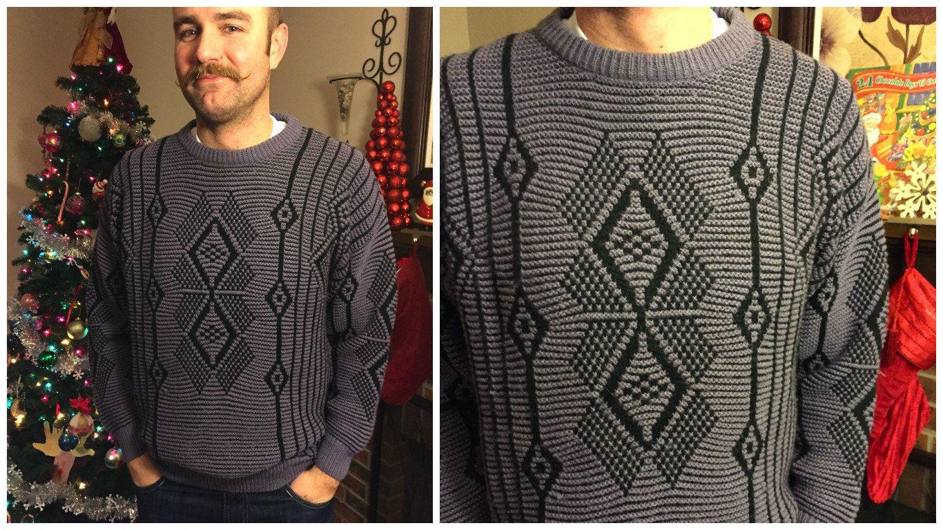 80's Mondo Southwestern Native Purple and Black Sweater // Size ...