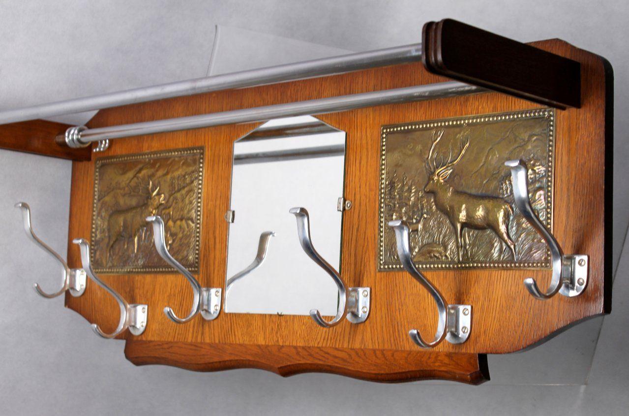 80 Cm Alte Garderobe Holz Art Deco Wandgarderobe