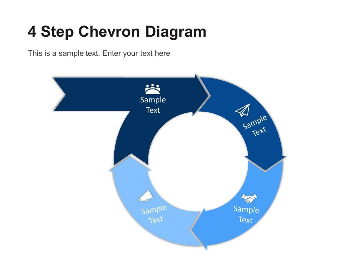 4 step circular chevron diagram template in 2020 chevron