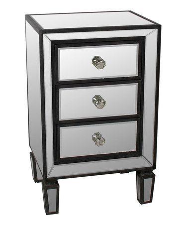 Lovely Privilege Mirrored Black U0026 White Three Drawer Accent Stand