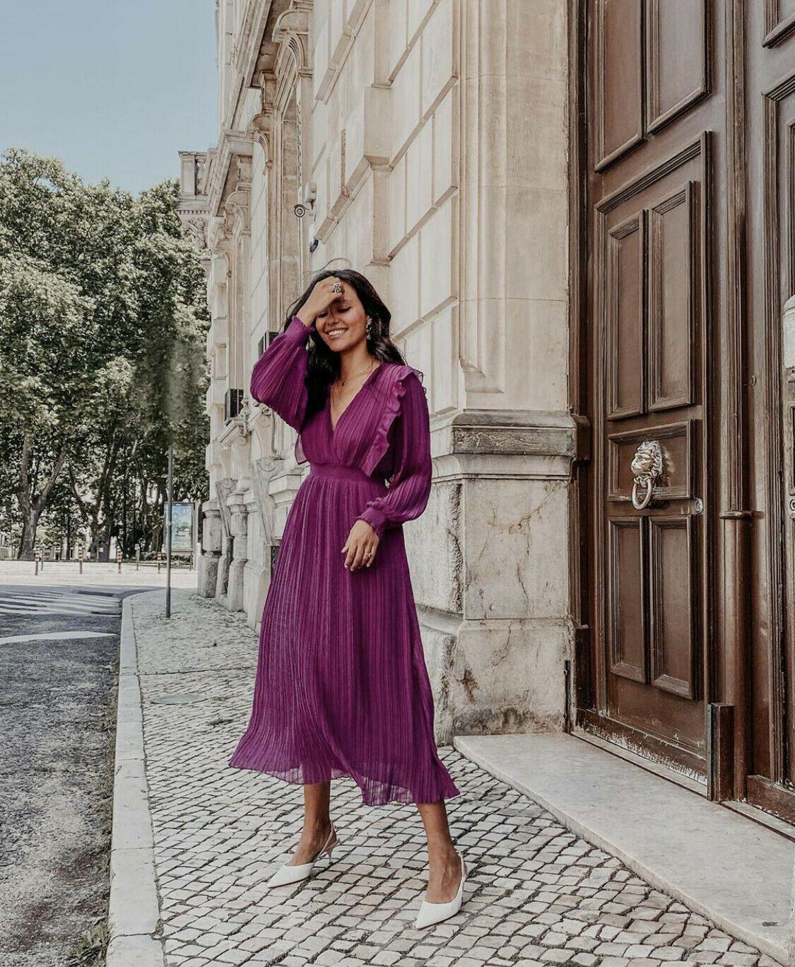 Zara Pleated Midi Dress Purple Midi Dress Pleated Dress Midi Midi Dress Summer [ 1368 x 1125 Pixel ]