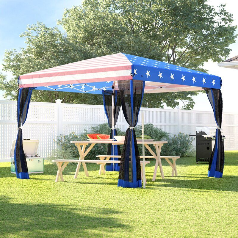 10 Ft W X 10 Ft D Metal Pop Up Canopy In 2020 Gazebo Patio Gazebo Grill Gazebo