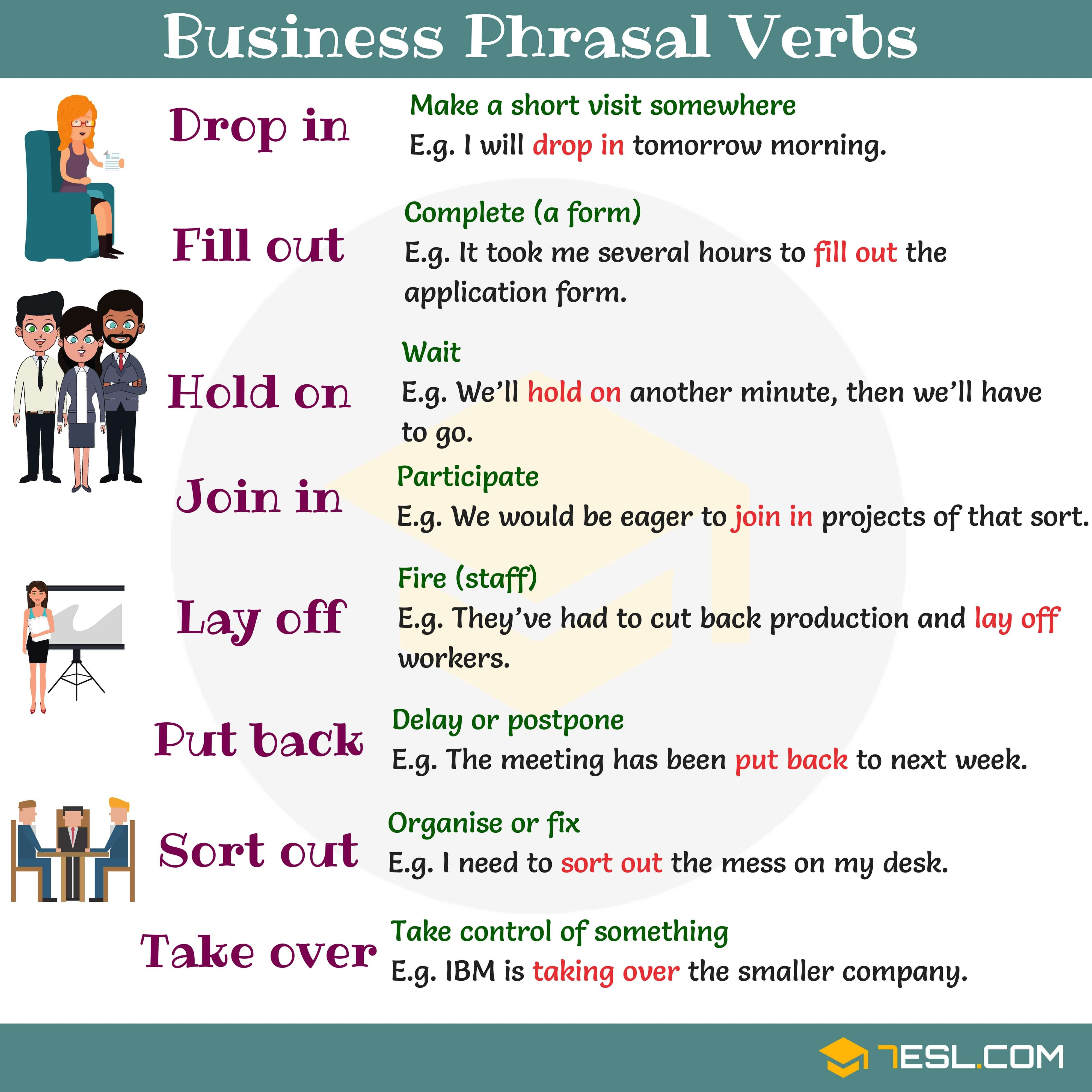 38 Useful Business Phrasal Verbs in English | Englisch lernen ...