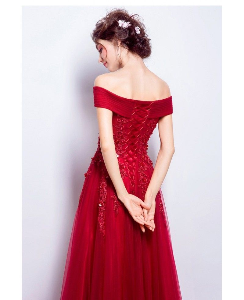 Elegant lace tulle red party dress with off shoulder