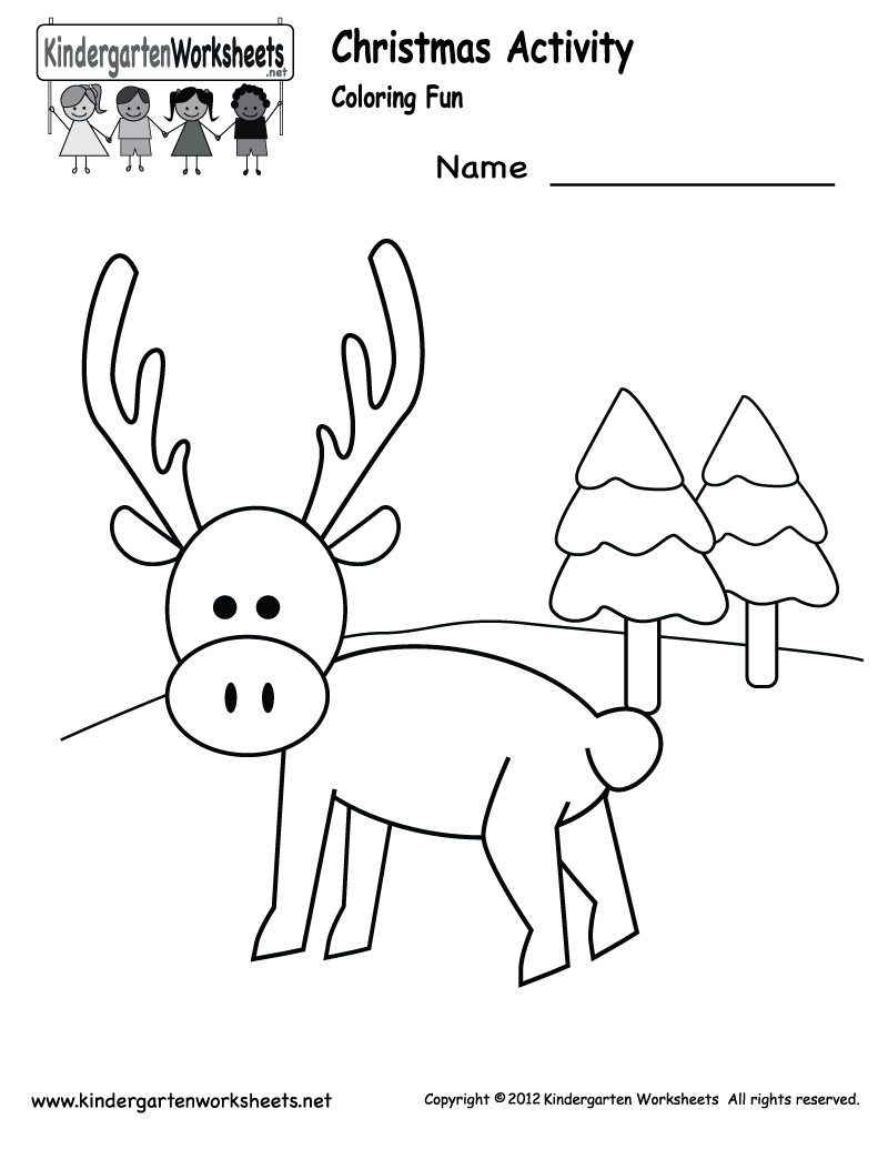 Kindergarten Christmas Coloring Worksheet Printable – Holiday Worksheets Free