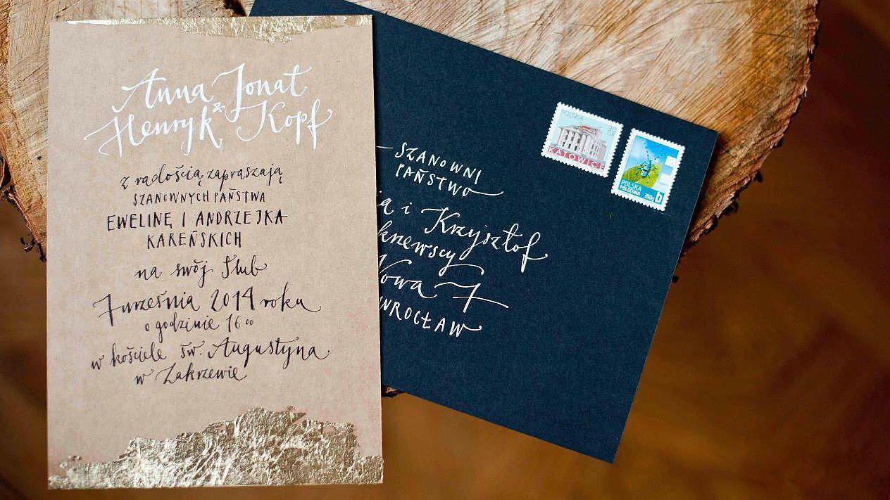 Pomysłowa Panna Młoda Zaproszenia ślubne Hello Calligraphy