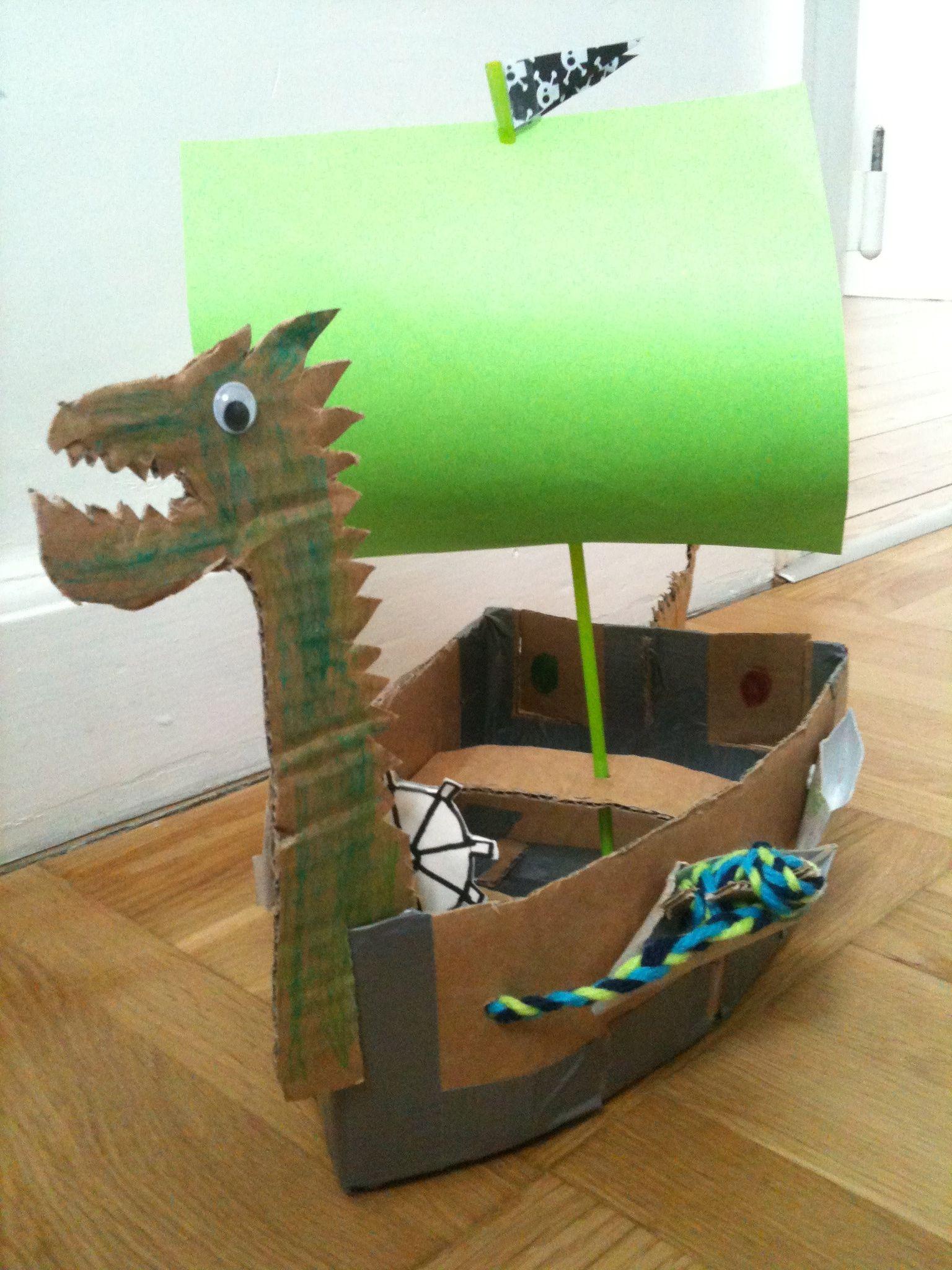Viking Boat Made Of Cardboard Boat Crafts Viking Ship Art