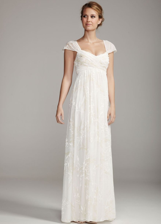 848d032ea679 Wedding Dresses with Sleeves | ... Sleeves Floor Length Ivory Chiffon Inexpensive  Simple Wedding Dress