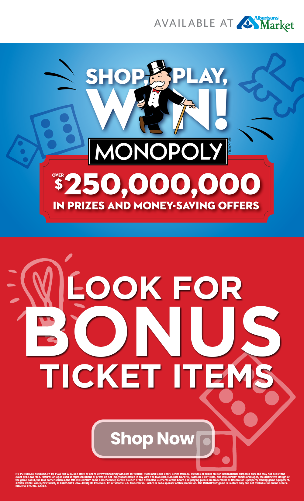 Shop, Play, Win® MONOPOLY is back at Albertsons with 4