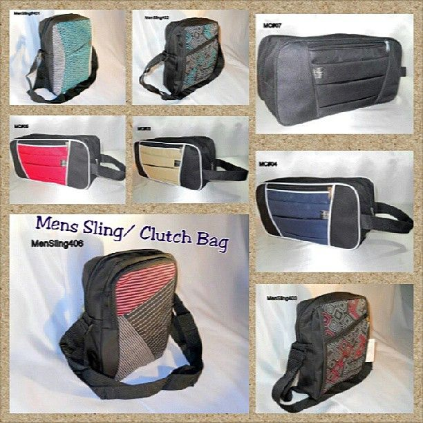 Men Sling/ Clutch Bags  Dimension : 15H x 14W x 6depth - Clutch/Pouch 12 H x 9 W X 5 Wide - Sling Bag  Materials : Poly laminated rubber (Clutch/Pouch type)  / Rubberized Polycanvass, Cotton Nylon (Sling Type)  Retail : Php 280.00 Visit: https://www.facebook.com/media/set/?set=a.738073359542028.1073741845.279025825446786&type=3