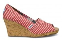 Red Nautical Stripe Women's Wedges