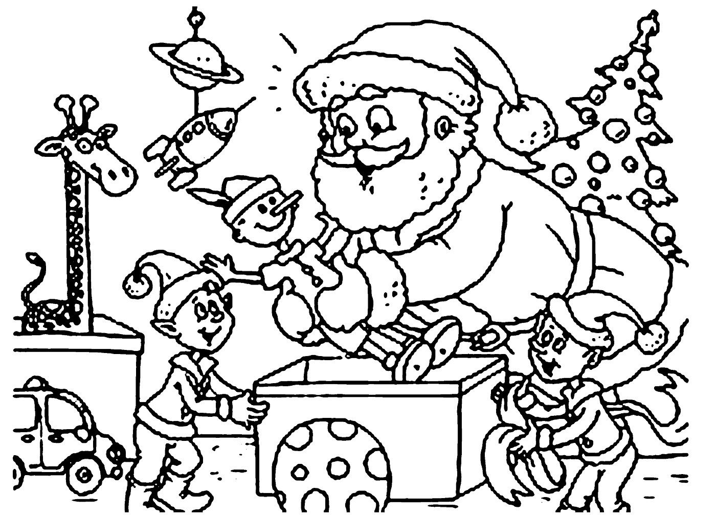 Santa Coloring Pages For Kindergarten