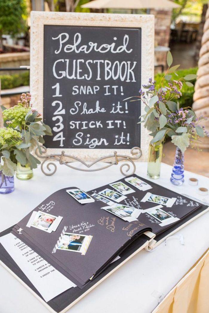 Personnalisé Polaroid Photo Livre Table De Mariage Signe aspect argent