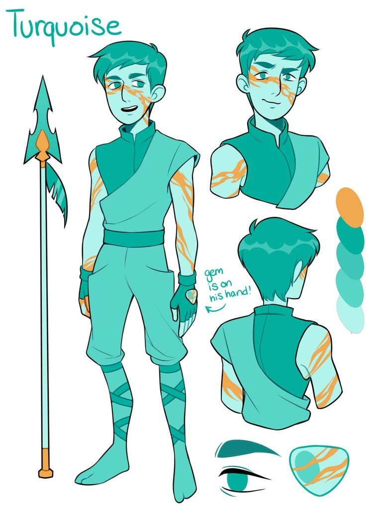 i made my bf steve a gemsona he wanted to be turquoise and he