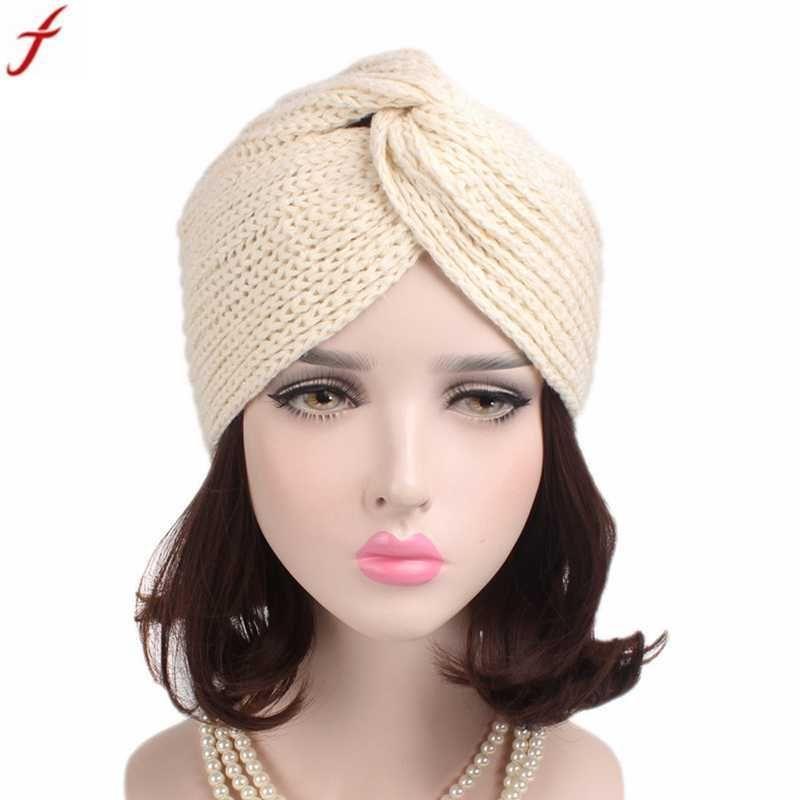 e3000a4b422b2e Spring autumn women's head wrap warm caps 2018 fashion women turban hat  retro winter knitting hat