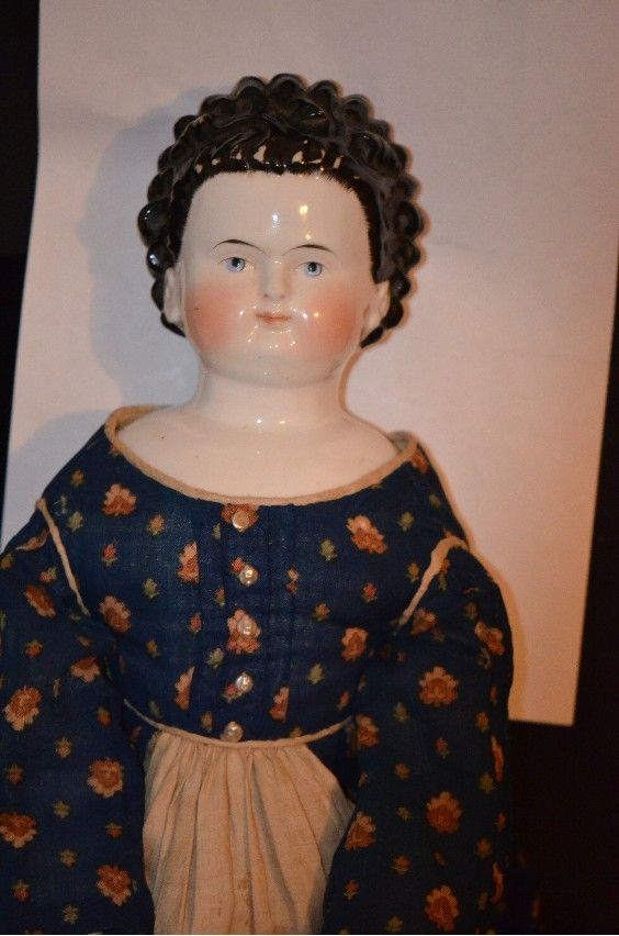 Antique Doll China Head Rare coiffure sculpted Curly Hair Exposed Ears Award Winning