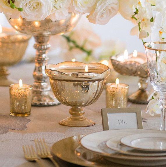Gold Mercury Glass Vase Centerpieces Arrangement Bouquet Vases