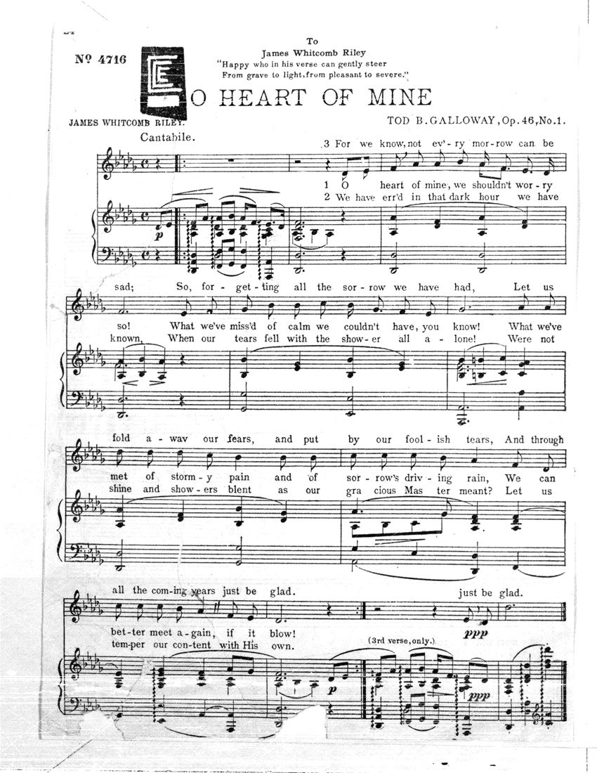 O' Heart of Mine, composed by Tod B. Galloway, 1905. Galloway was educated at Amherst College and became a lawyer, then probate judge, and subsequently the secretary to the governor of Ohio. During World War I, he was a YMCA entertainer in France. C. C. Easley Microfilm Collection.  	International Guitar Research Archive.