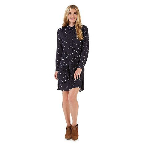Nine by Savannah Miller Navy blue swallow print dress- at Debenhams Mobile